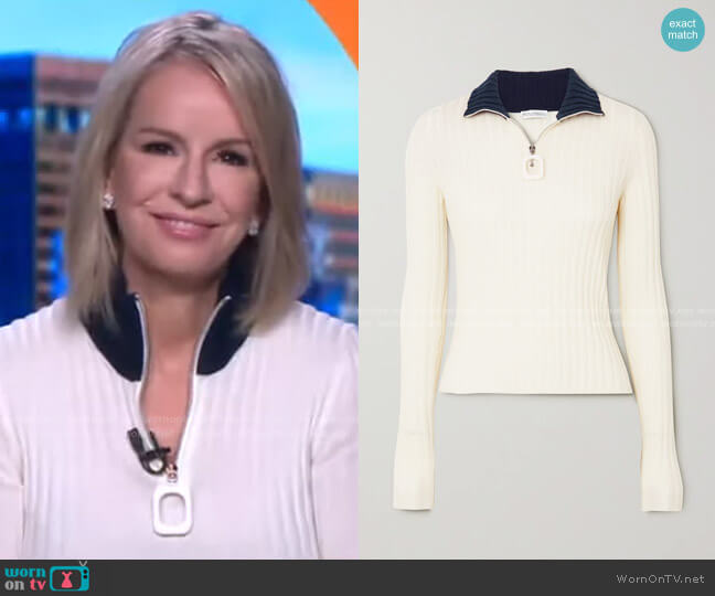 Infinity Two-Tone Ribbed Merino Wool Sweater by JW Anderson worn by Dr. Jennifer Ashton  on Good Morning America