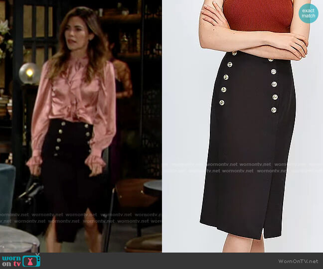 Karen Millen Tailored Button Pencil Skirt worn by Victoria Newman (Amelia Heinle) on The Young & the Restless