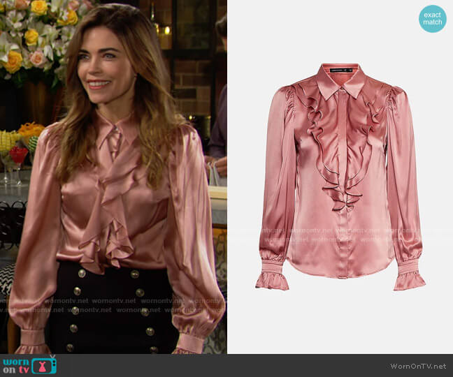 Karen Millen Silk Ruffle Sleeved Shirt With Cuff Detail worn by Victoria Newman (Amelia Heinle) on The Young & the Restless