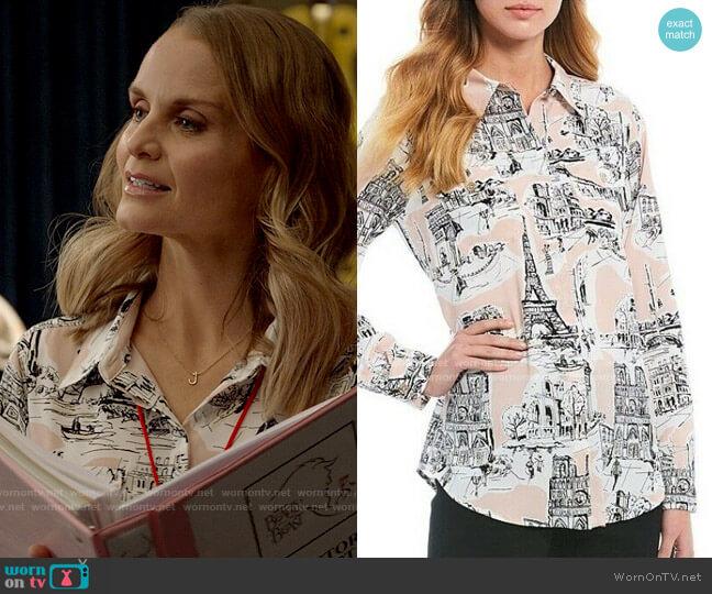 Karl Lagerfeld Parisian Scenes Shirt worn by Miss Jenn (Kate Reinders) on High School Musical The Musical The Series