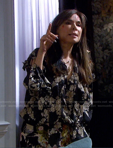 Kate's black floral blouse and skirt on Days of our Lives