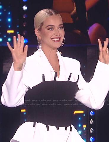 Katy's black corset and white blazer on American Idol