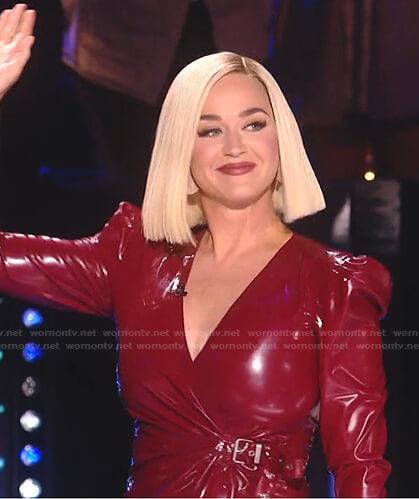 Katy's red latex wrap dress on American Idol