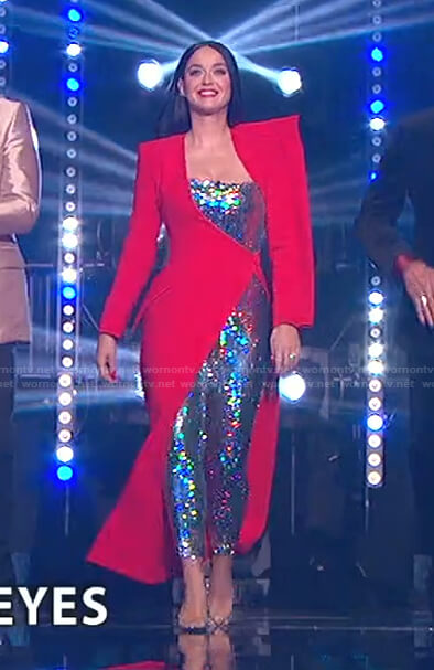 Katy's sequin jumpsuit and red dress on American Idol
