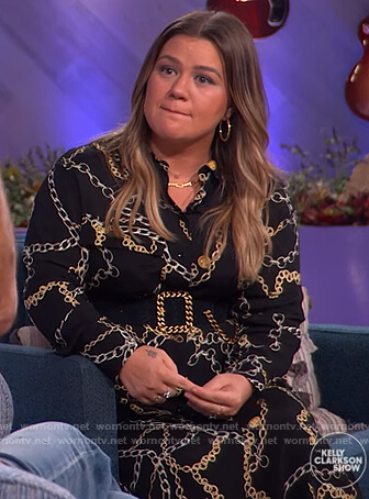 Kelly's black chain print shirtdress on The Kelly Clarkson Show