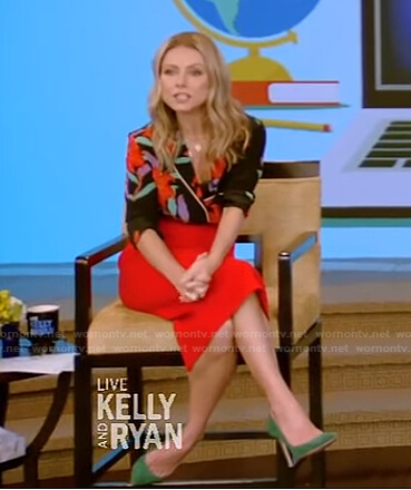 Kelly's floral shirt and red skirt on Live with Kelly and Ryan