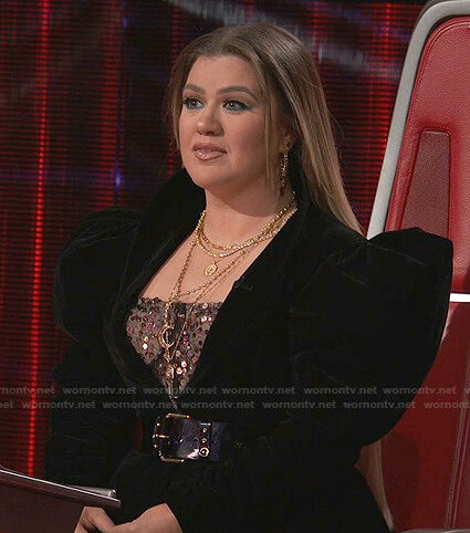 Kelly's sequin dress and black velvet jacket on The Voice
