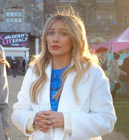 Kelsey's blue floral dress and coat on Younger