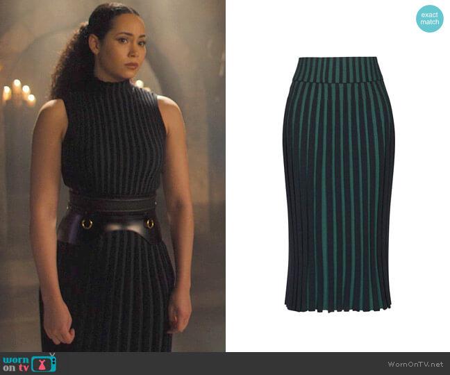 Kenzo Pleated Two-tone Skirt worn by Macy Vaughn (Madeleine Mantock) on Charmed