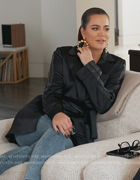 Khloe's black satin belted blazer on Keeping Up with the Kardashians