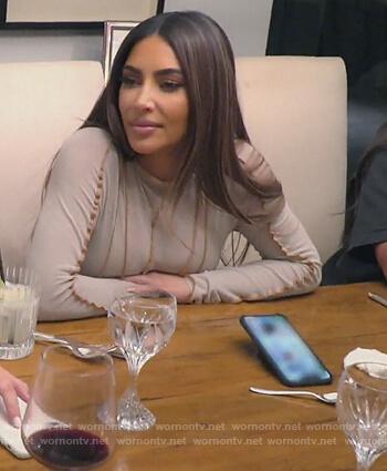 Kim's beige ruffle trim dress on Keeping Up with the Kardashians