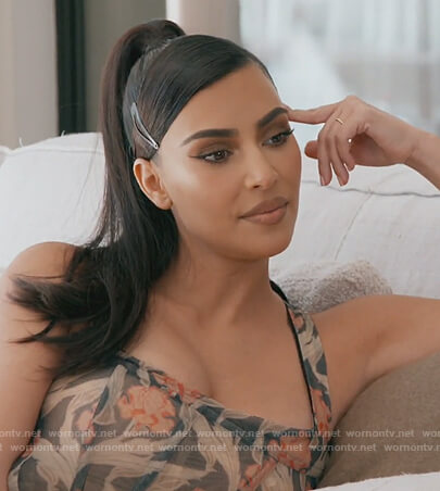 Kim's floral print corset top on Keeping Up with the Kardashians