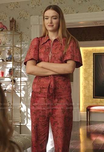 Kirby's red floral jumpsuit on Dynasty
