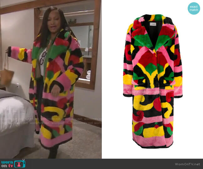 Abstract Faux-Fur Coat by Kirin worn by Garcelle Beauvais  on The Real Housewives of Beverly Hills