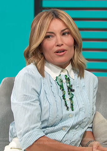 Kit's blue striped embellished shirt on Access Hollywood