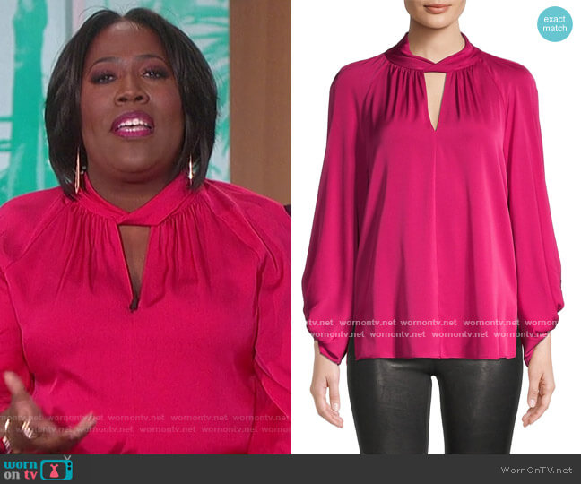 Joey Keyhole Silk-Chiffon Blouse by Kobi Halperin worn by Sheryl Underwood  on The Talk