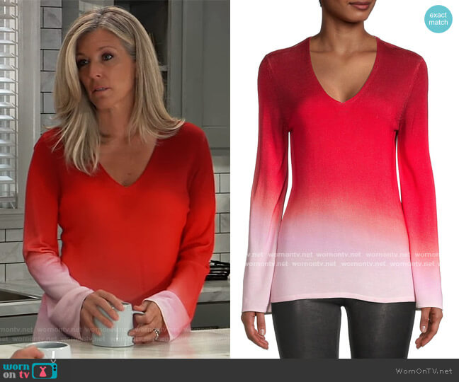 Jayme Ombre Sweater by Kobi Halperin worn by Carly Corinthos (Laura Wright) on General Hospital