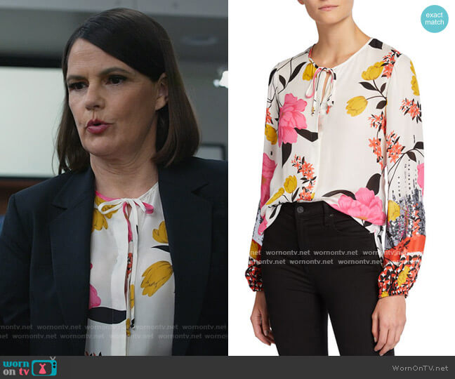 Noelle Floral Print Tie-Neck Blouse by Kobi Halperin worn by Maggie Palmer (Suzanne Cryer) on All Rise