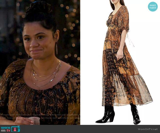 The Kooples Patchwork Print Maxi Dress worn by Mel Vera (Melonie Diaz) on Charmed