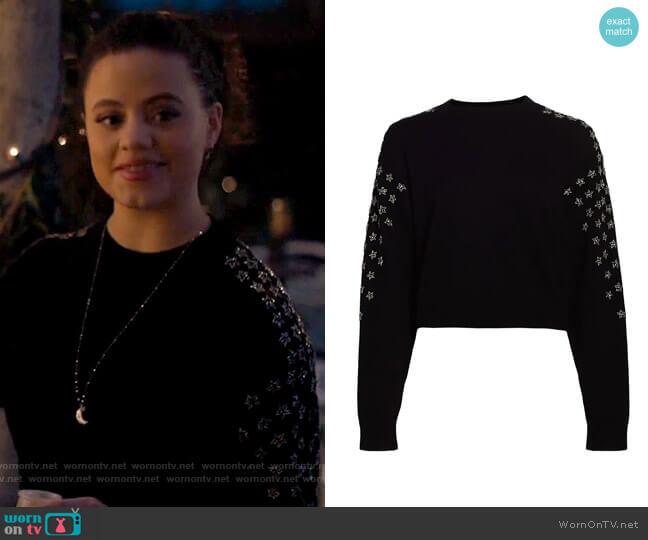 The Kooples Star Print Wool-Cashmere Sweater worn by Maggie Vera (Sarah Jeffery) on Charmed