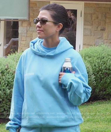 Kourtney's light blue hoodie on Keeping Up with the Kardashians