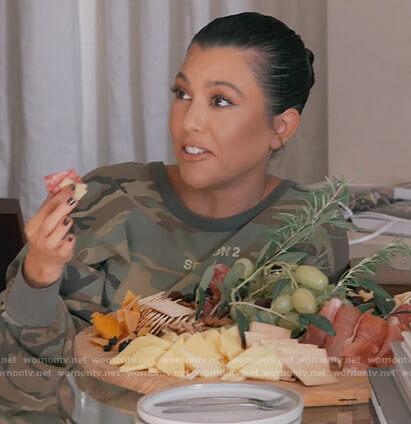 Kourtney's camo print top on Keeping Up with the Kardashians