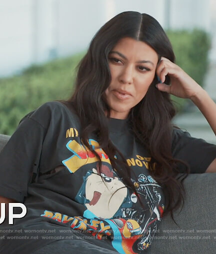 Kourtney's Warner Brothers printed tee on Keeping Up with the Kardashians