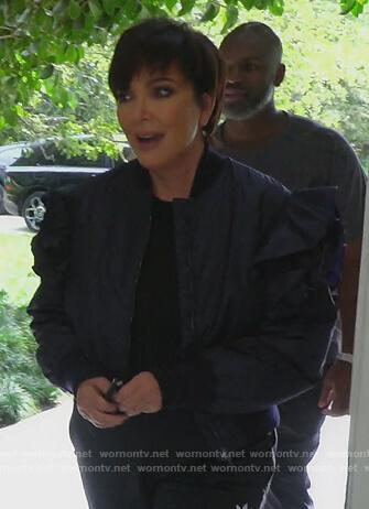Kris's navy ruffle shoulder bomber jacket on Keeping Up with the Kardashians