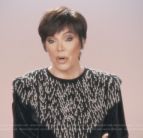 Kris's velvet beaded blouse on Keeping Up with the Kardashians