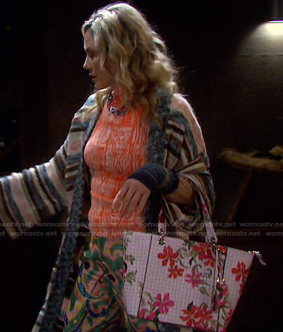 Kristen's pink gingham floral bag on Days of our Lives