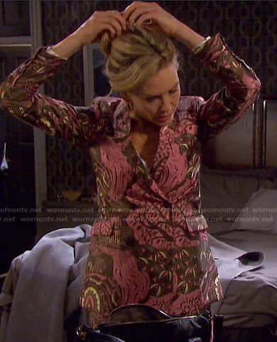 Kristen's pink printed blazer and pants on Days of our Lives