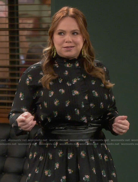Kristin's black floral long sleeved dress with ruffles on Last Man Standing