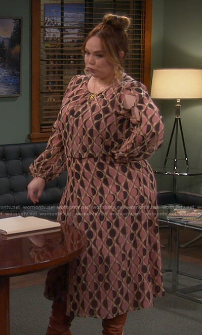 Kristin's printed long sleeve midi dress on Last Man Standing