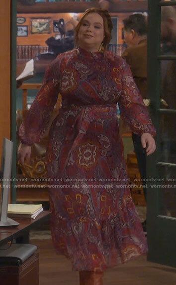 Kristin's red paisley print long sleeve midi dress on Last Man Standing