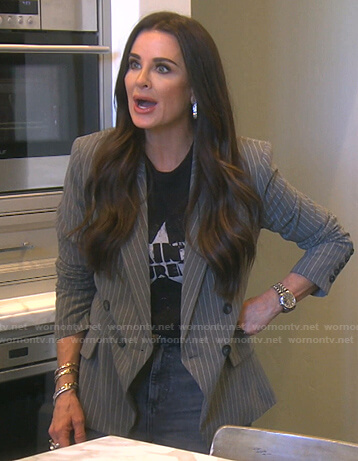 Kyle's grey pinstripe blazer on The Real Housewives of Beverly Hills