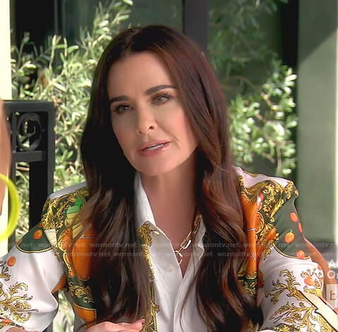 Kyle's orange print blouse on The Real Housewives of Beverly Hills