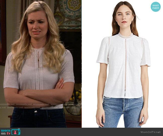 La Vie Rebecca Taylor Short Sleeve Lace Linen Jersey Tee worn by Gemma (Beth Behrs) on The Neighborhood