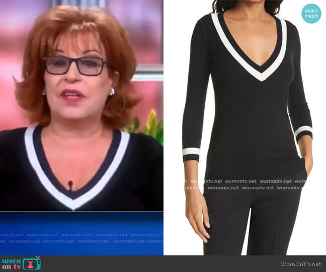 Axelle V-Neck Knit Top by L'Agence worn by Joy Behar  on The View
