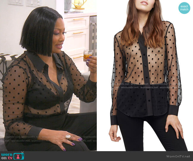 Hailie Polka Dot Long-Sleeve Sheer Blouse by L'Agence worn by Garcelle Beauvais  on The Real Housewives of Beverly Hills