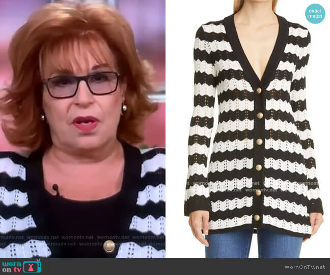 Joan Striped Cardigan by L'Agence worn by Joy Behar  on The View