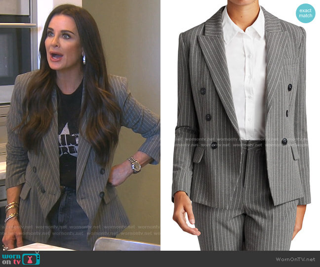Kenzie Double-Breasted Blazer by L'Agence worn by Kyle Richards  on The Real Housewives of Beverly Hills
