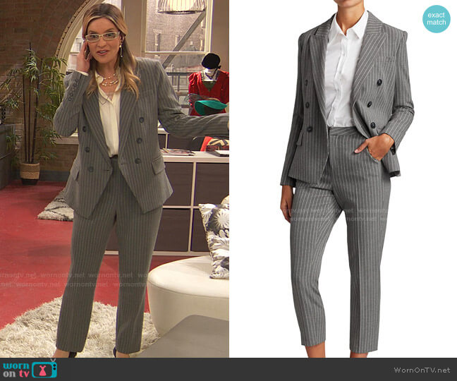 Kenzie Double-Breasted Blazer and Ludivine Pinstripe Cropped Pants by L'Agence worn by Chelsea Grayson (Anneliese van der Pol) on Ravens Home
