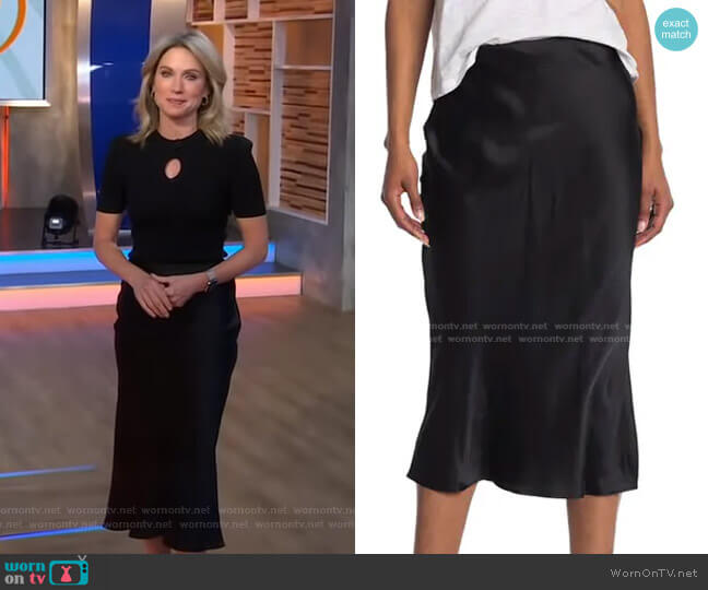 Perin Bias Cut Silk Midi Skirt by L'Agence worn by Amy Robach  on Good Morning America