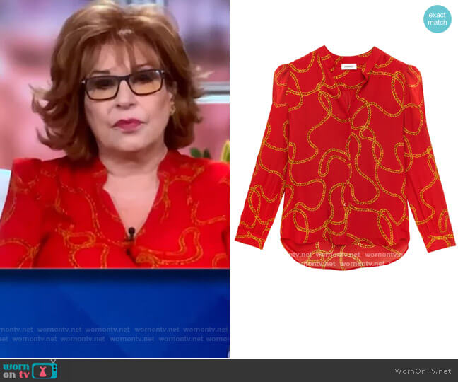 Florent Long Sleeve Chain Print Silk Blouse by L'Agence worn by Joy Behar  on The View