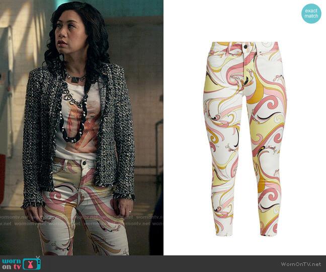 L'Agence Margot High-Rise Swirl Skinny Jeans worn by Melody Bayani (Liza Lapira) on The Equalizer