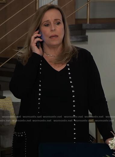 Laura's black studded trim cardigan on General Hospital