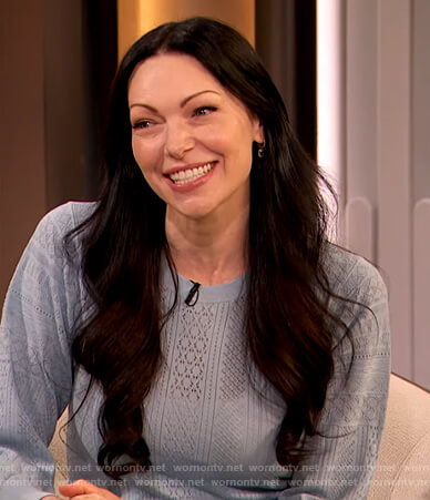 Laura Prepon's blue pointelle sweater on The Drew Barrymore Show