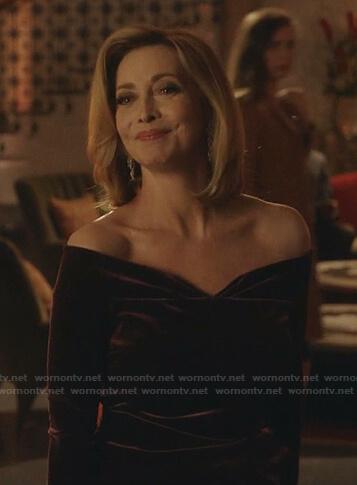 Laure's purple off-shoulder velvet dress on Dynasty