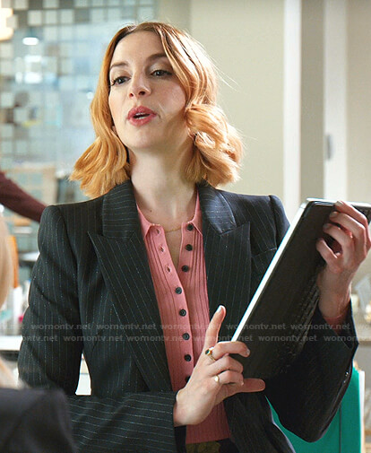 Lauren's pink ribbed top and pinstripe blazer on Younger