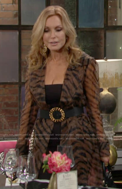 Lauren's tiger stripe print trench coat on The Young and the Restless